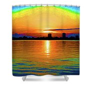 25- Psychedelic Sunrise Shower Curtain