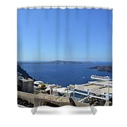 28 September 2016 White Houses By The Sea In Santorini, Greece  Shower Curtain