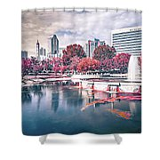 Charlotte North Carolina Cityscape During Autumn Season Shower Curtain