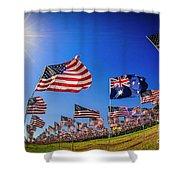 Pepperdine Flag Salute Shower Curtain