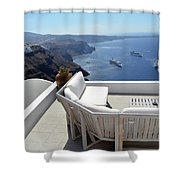 29 September 2016 Lounge Terrace And The View Of Volcanic Caldera In Santorini, Greece Shower Curtain