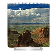2d10338 Thunderhead Over Independence Monument Shower Curtain
