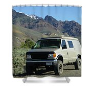 2da5944-dc Our Sportsmobile At Steens Mountain Shower Curtain