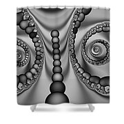 2x1 Abstract 438 Bw Shower Curtain
