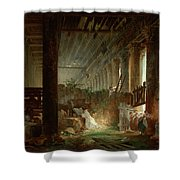 A Hermit Praying In The Ruins Of A Roman Temple Shower Curtain