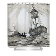 A Lightship's Xmas Dinner Shower Curtain