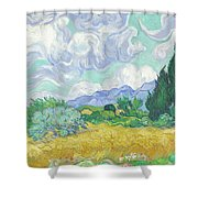 A Wheatfield With Cypresses Shower Curtain