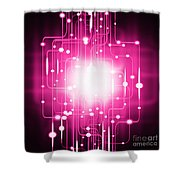 Abstract Circuit Board Lighting Effect  Shower Curtain by Setsiri Silapasuwanchai