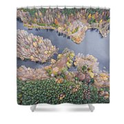 Aerial View Of The Forrest With Different Color Trees.  Shower Curtain