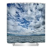 Alaska Waterscape And Mountains Near Favorite Channel And  Junea Shower Curtain