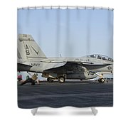 An Fa-18f Super Hornet Ready To Launch Shower Curtain