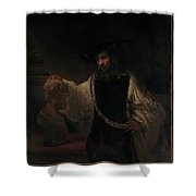 Aristotle With A Bust Of Homer Shower Curtain