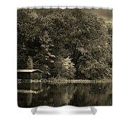 Autumn Lake Boathouse Shower Curtain