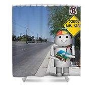 Back To School Little Robox9 Shower Curtain