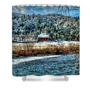 Vermont Farm By The River Shower Curtain