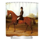 Barraud Henry Richard Paget Of Cropston Leicester On A Bay Hunter Henry Barraud Shower Curtain