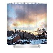 Beautiful Sunrise Over Horizon On Snowshoe Mountain West Virgini Shower Curtain