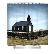 Black Church Of Budir, Iceland Shower Curtain