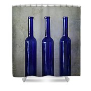 3 Blue Bottles Shower Curtain