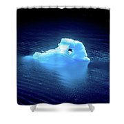 Blue Icebergs And Ice Chunks In Water Nearby Alaska Shower Curtain