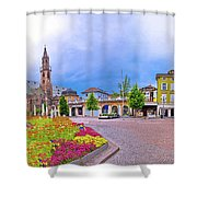 Bolzano Main Square Waltherplatz Panoramic View Shower Curtain
