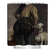 Boy With A Greyhound Shower Curtain