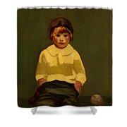 Boy With Baseball Shower Curtain