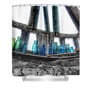 Bromo Seltzer Vintage Glass Bottles Shower Curtain