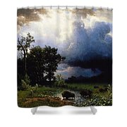 Buffalo Trail  The Impending Storm Shower Curtain