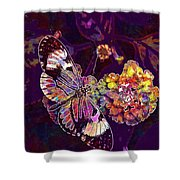 Butterfly Macro Pose Plant Green  Shower Curtain