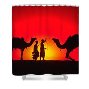 Camels At Sunset Shower Curtain