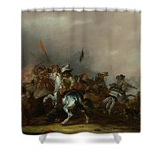 Cavalry Attacked By Infantry Shower Curtain