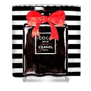 Chanel Noir Perfume Shower Curtain