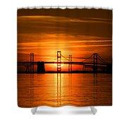 Chesapeake Bay Bridge Sunset Shower Curtain