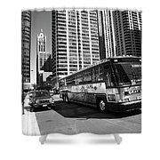 Chicago Bus And Buildings Shower Curtain