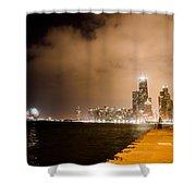 Chicago Skyline Fireworks Shower Curtain