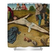 Christ Nailed To The Cross Shower Curtain