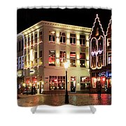 Christmas Decorations On The Buildings, Bruges City Shower Curtain