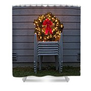 Christmas Wreath On Lawn Chairs Shower Curtain