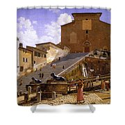 3 Christoffer Wilhelm Eckersberg     The Marble Steps Leading Up To Santa Maria In Aracoeli In Rome Shower Curtain