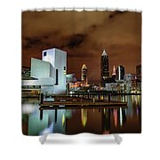 Cleveland Skyline At Night Shower Curtain
