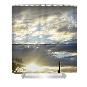 Cloudy Blue Shower Curtain