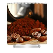 Coffee Beans And Ground Coffee Shower Curtain