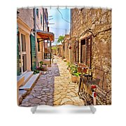 Colorful Mediterranean Stone Street Of Prvic Island Shower Curtain