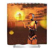 Concept Illustrating Mankind Becoming Shower Curtain