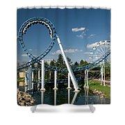Cork-screw Rollercoaster And Ferris-wheel Shower Curtain