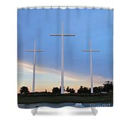 3 Cross Sunset Shower Curtain