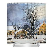 Currier & Ives Winter Scene Shower Curtain