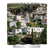 Dhermi Traditional Village View In Southern Albania Shower Curtain