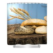 Different Breads And Windmill In The Background Shower Curtain by Deyan Georgiev